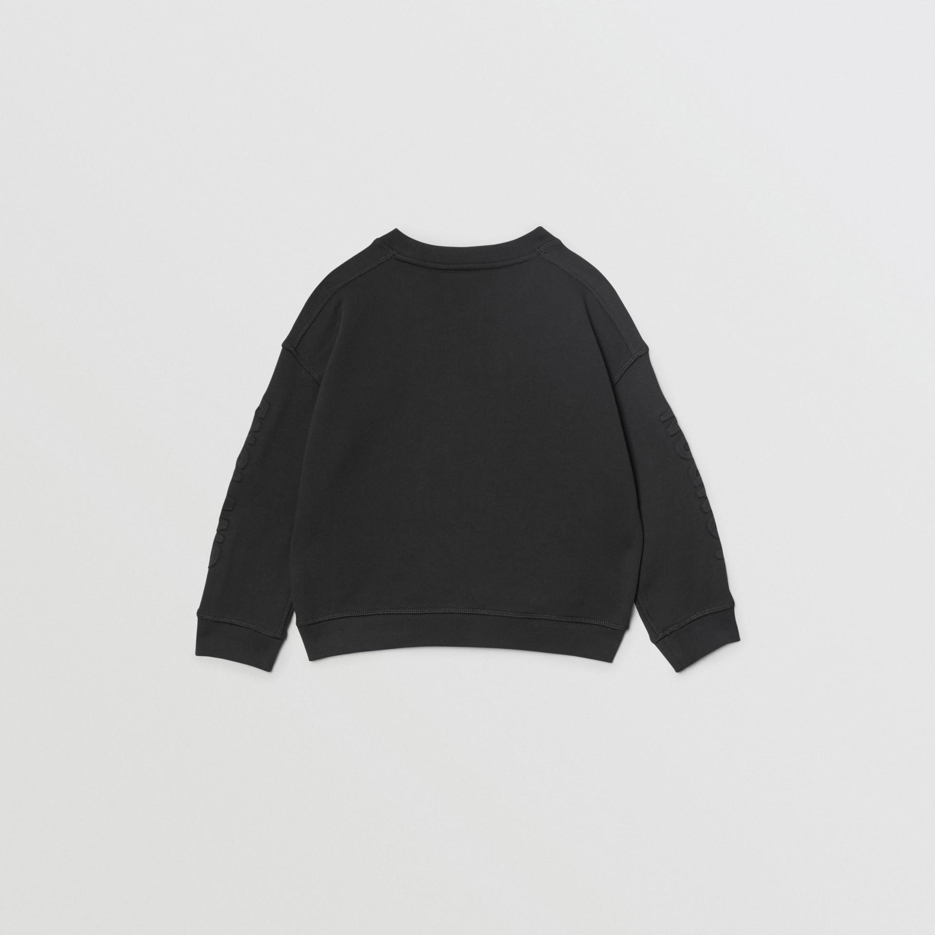 Embossed Logo Cotton Sweatshirt in Black | Burberry - gallery image 3