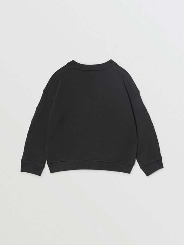 Embossed Logo Cotton Sweatshirt in Black | Burberry - cell image 3