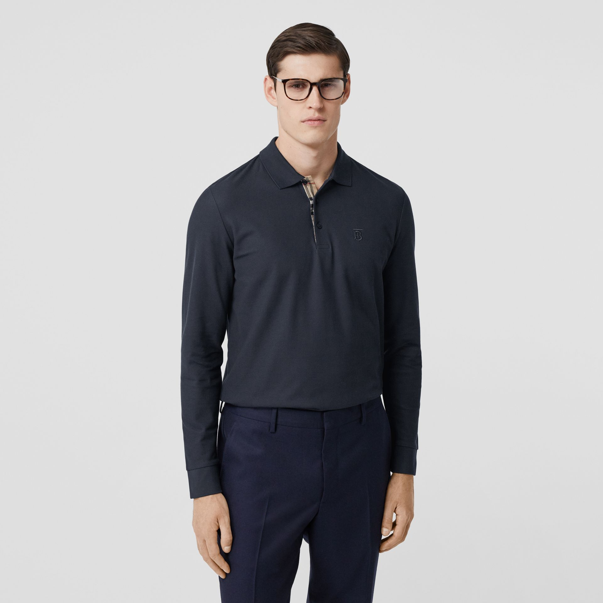 Long-sleeve Monogram Motif Cotton Piqué Polo Shirt in Navy - Men | Burberry - gallery image 4