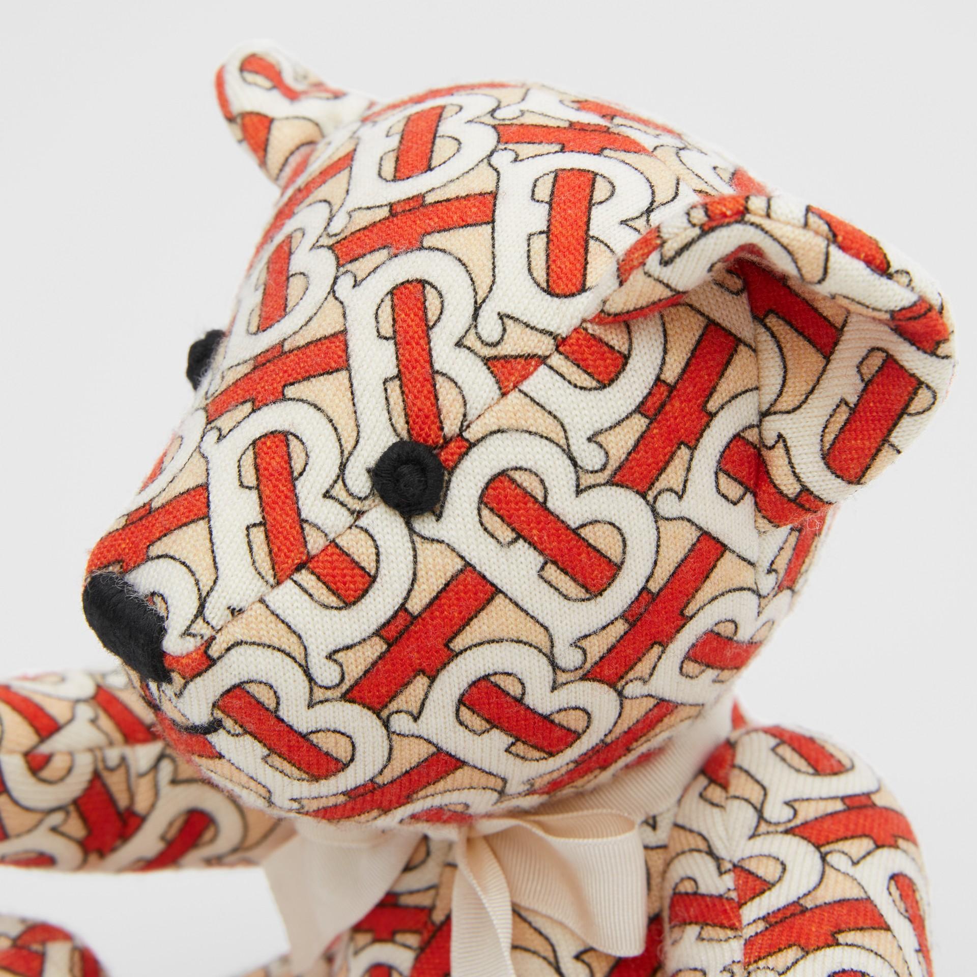 Monogram Print Merino Wool Thomas Bear in Vermilion Red - Children | Burberry United Kingdom - gallery image 1