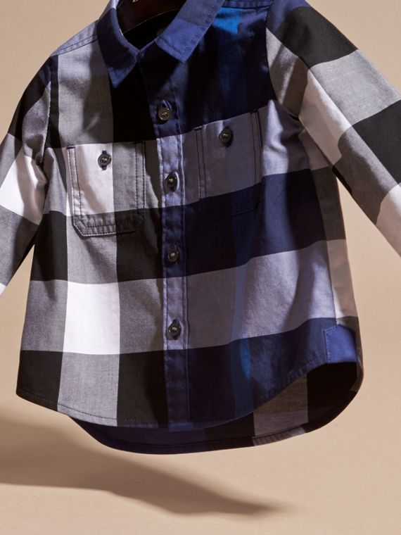 Bright navy blue Check Cotton Shirt Bright Navy Blue - cell image 2