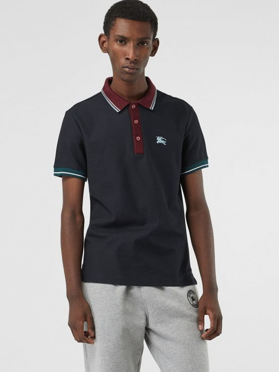 Tipped Cotton Piqué Polo Shirt in Dark Navy