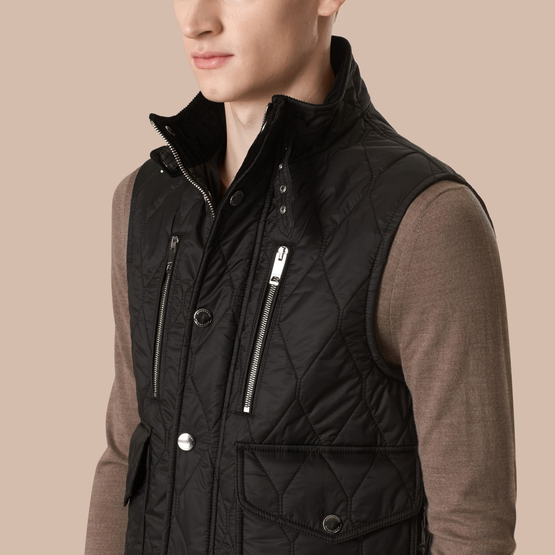 Black Multi-Pocket Diamond Quilted Gilet Black - gallery image 2