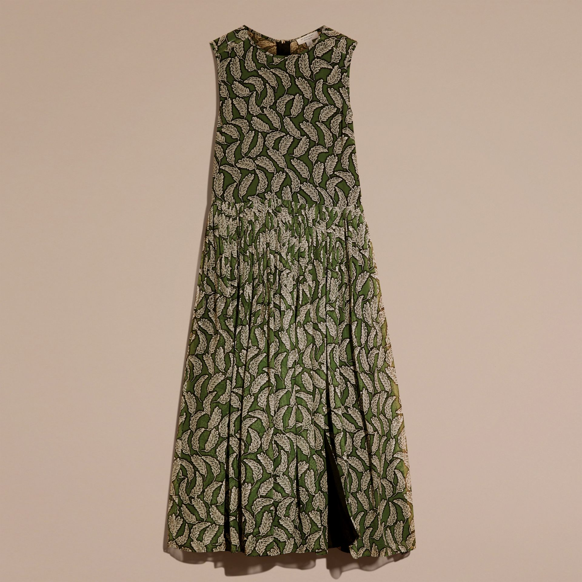 Dusty green Leaf Print Silk Midi Dress - gallery image 4