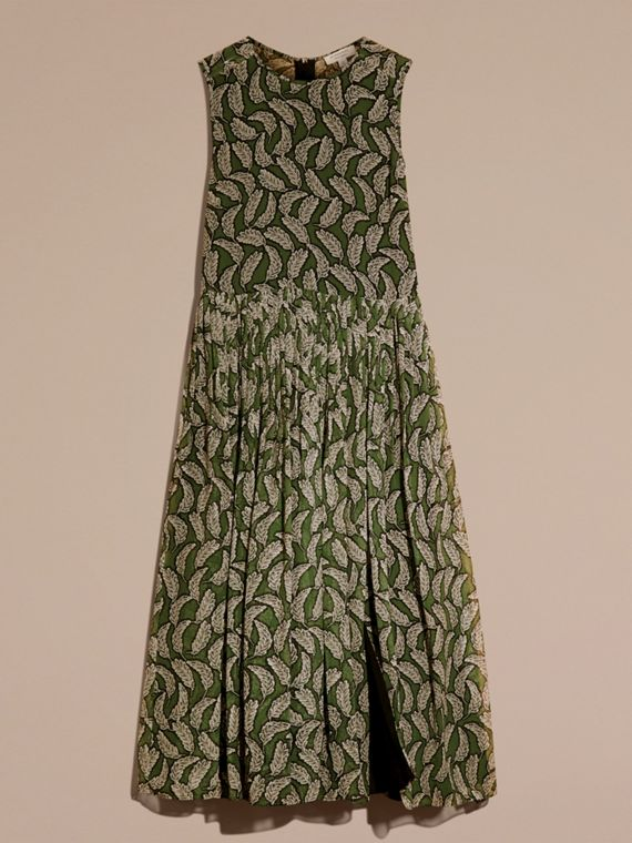 Dusty green Leaf Print Silk Midi Dress - cell image 3