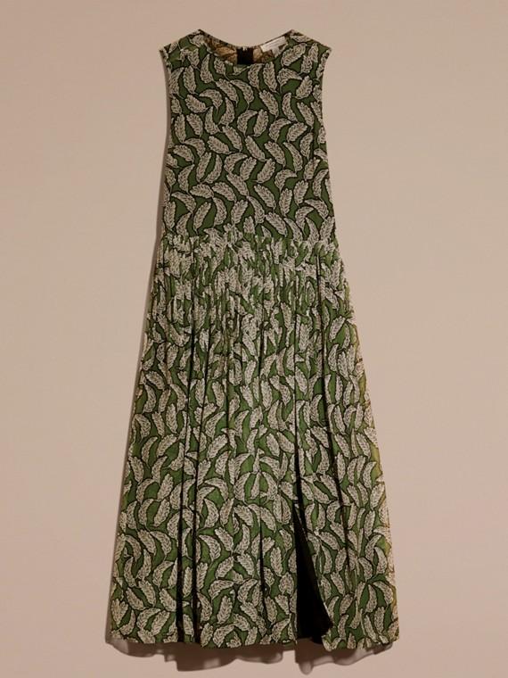 Verde polvere Abito longuette in seta con stampa a foglia - cell image 3