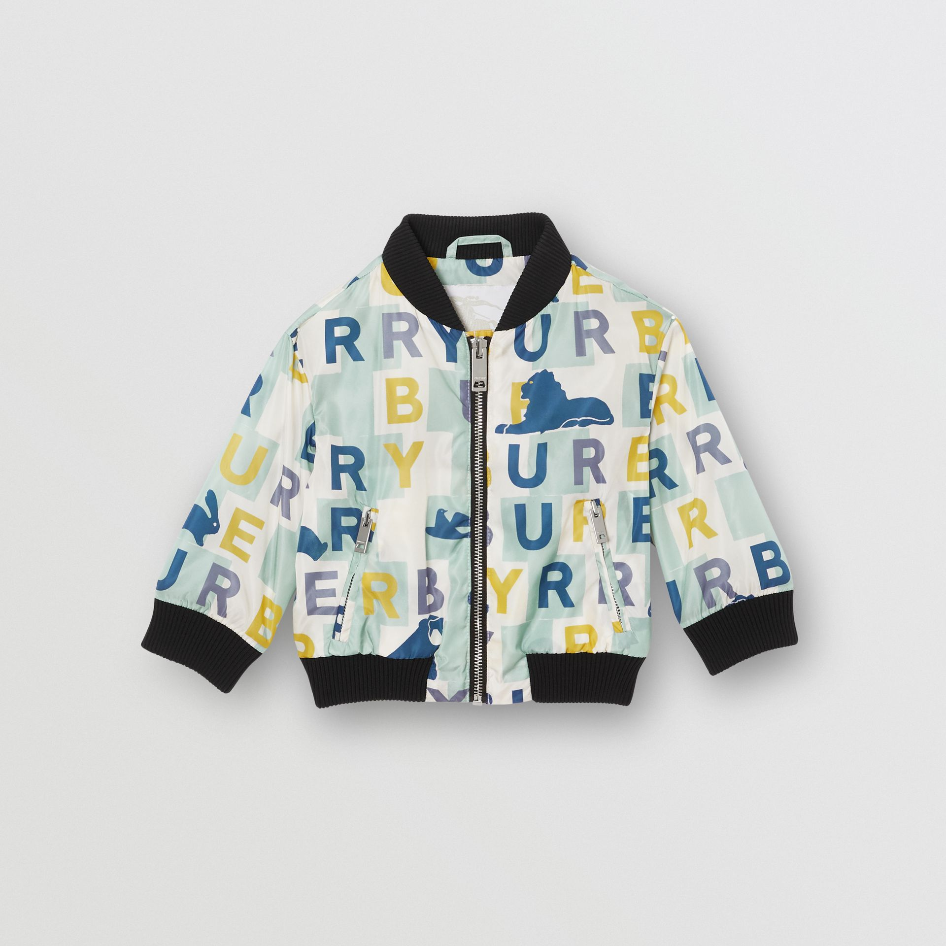 Logo Print Nylon Bomber Jacket in Pale Mint - Children | Burberry United Kingdom - gallery image 0