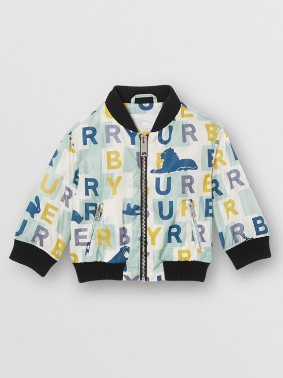 Logo Print Nylon Bomber Jacket in Pale Mint