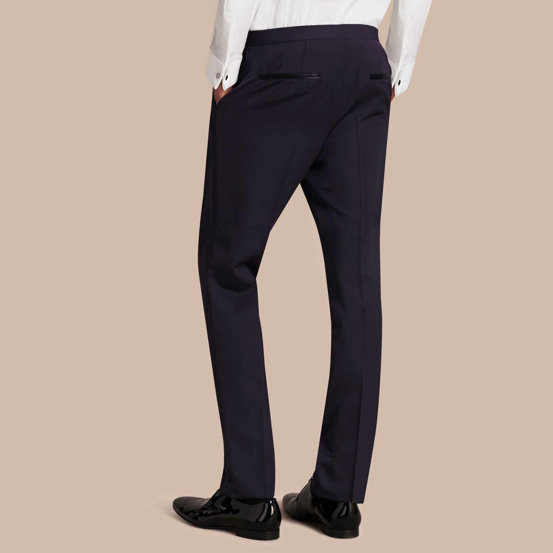 Navy Virgin Wool Tuxedo Trousers Navy - gallery image 3