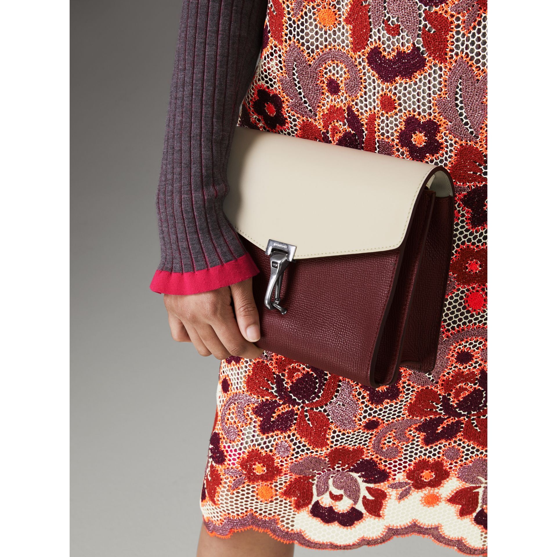 Two-tone Leather Crossbody Bag in Mahogany Red/limestone - Women | Burberry United States - gallery image 3