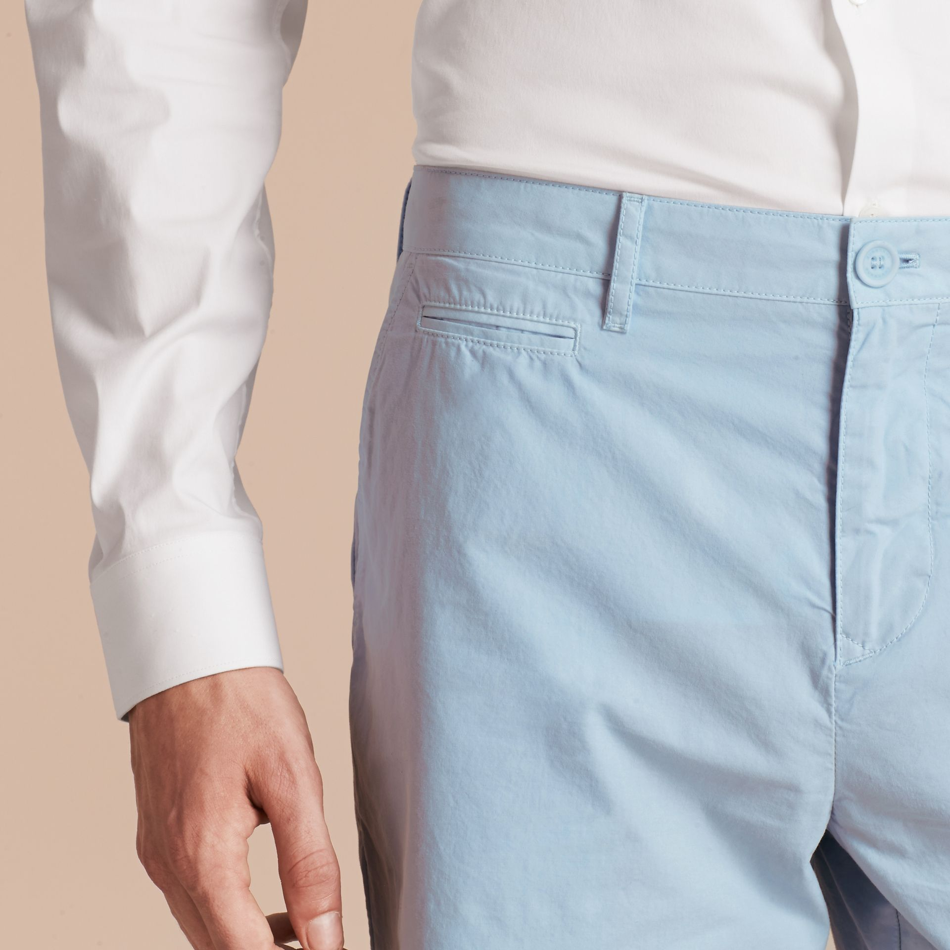Cotton Poplin Chino Shorts Pale Opal Blue - gallery image 5