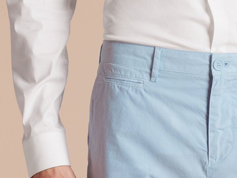 Cotton Poplin Chino Shorts Pale Opal Blue - cell image 4