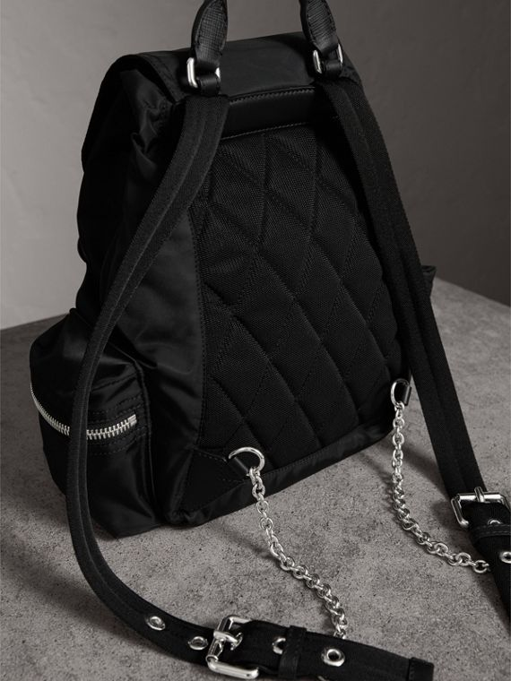 The Medium Rucksack in Technical Nylon with Pallas Heads Appliqué in Black/white - Women | Burberry - cell image 3