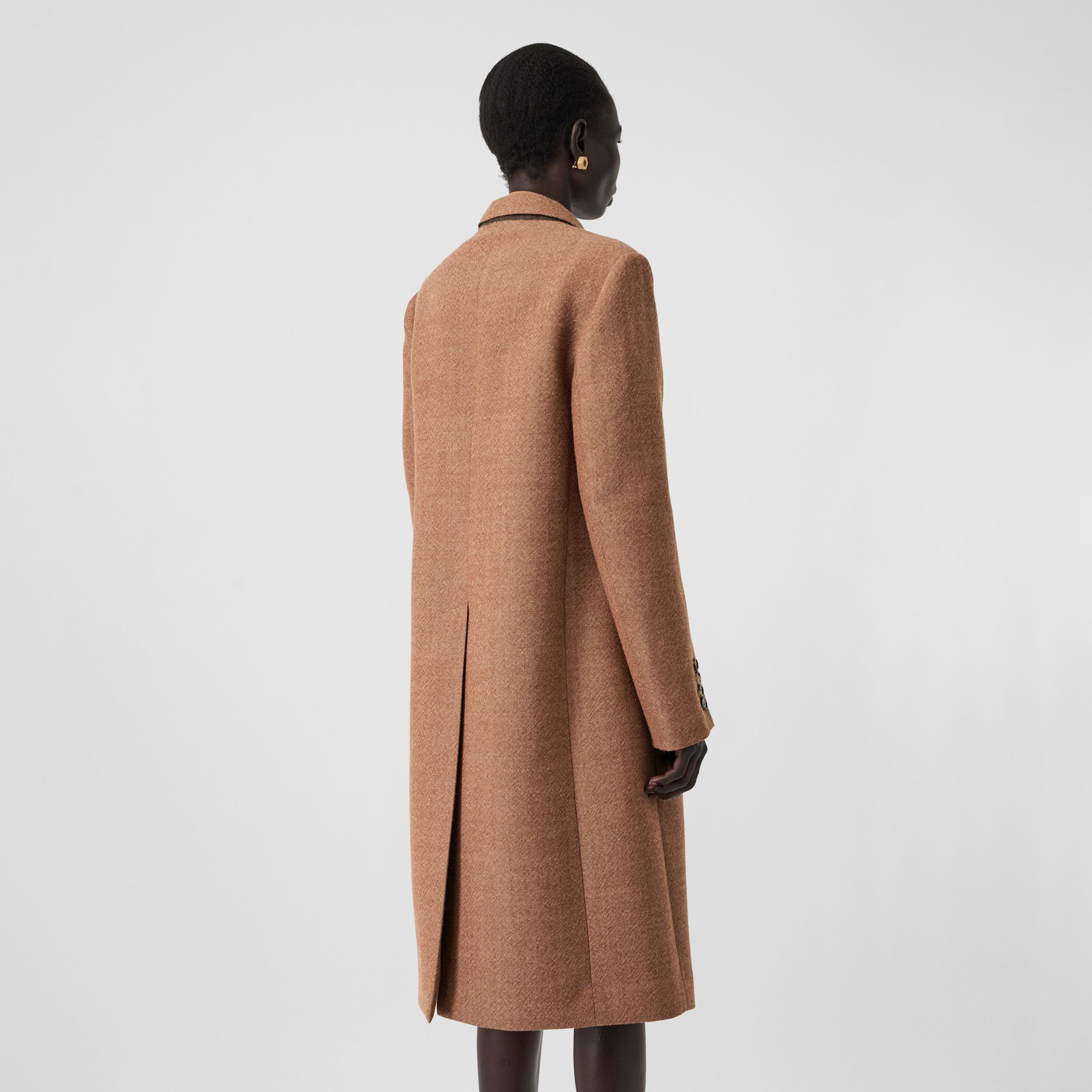 Waistcoat Detail Wool Tailored Coat in Bronze - Women | Burberry - 3