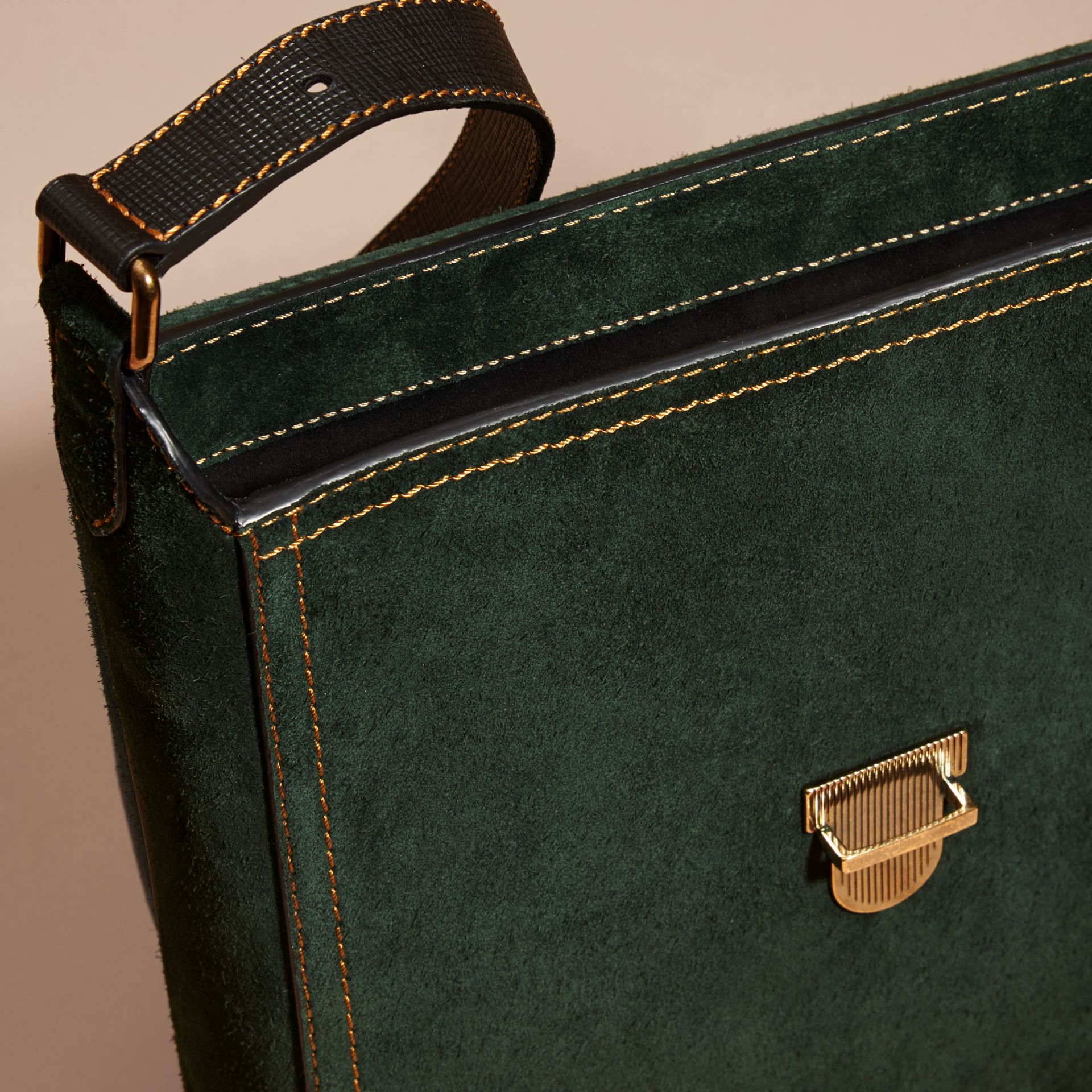 Dark forest green The Medium Satchel in English Suede - gallery image 5