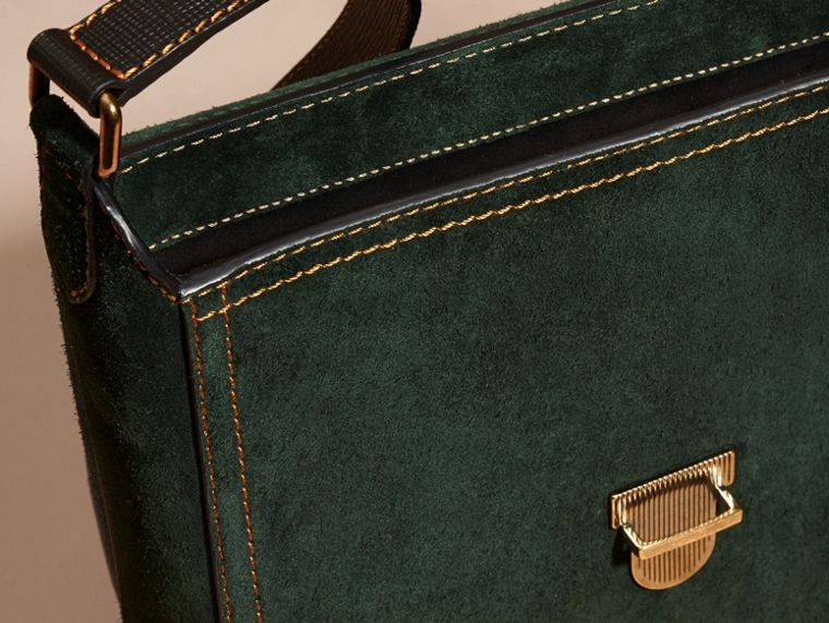 Dark forest green The Medium Satchel in English Suede - cell image 4