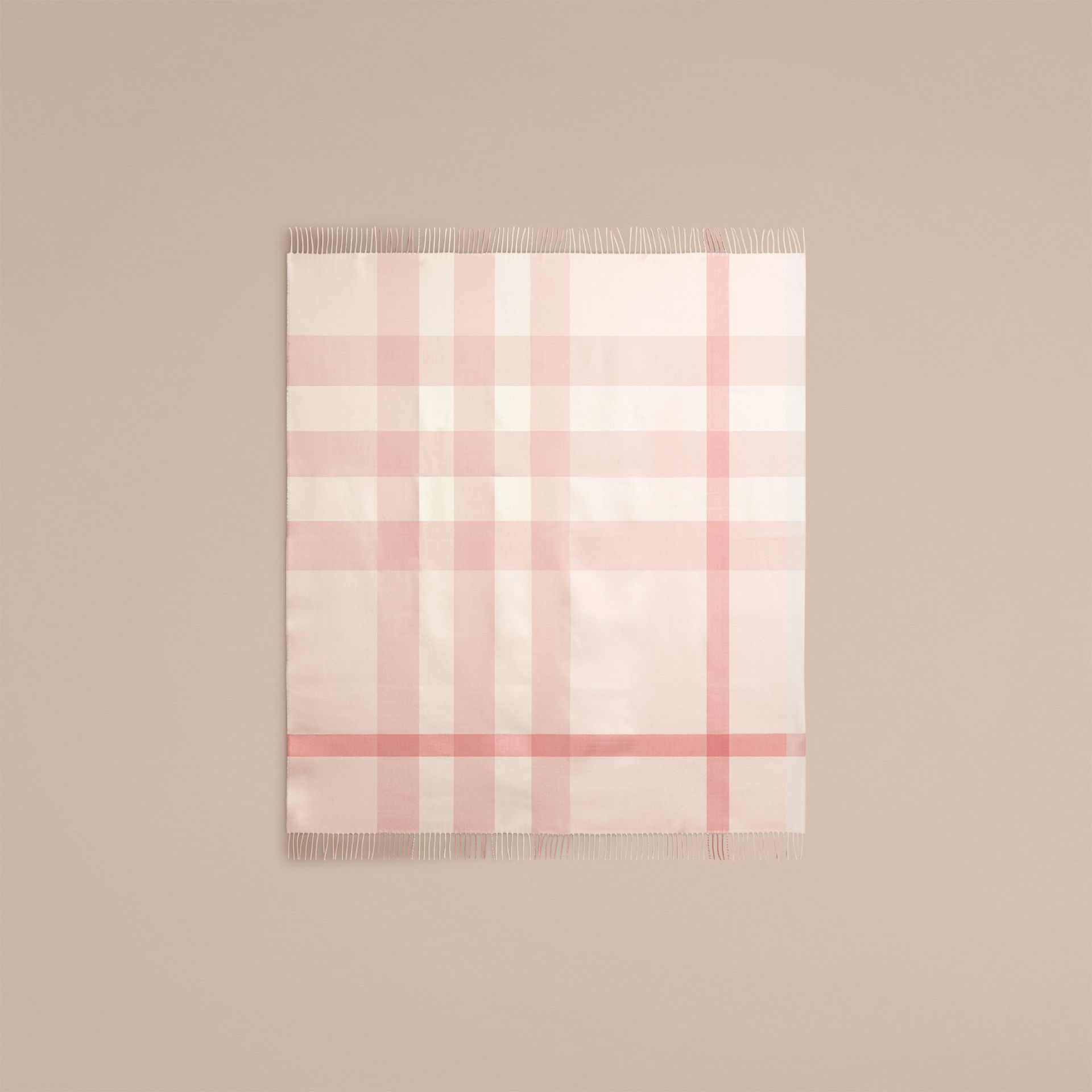 Powder pink Check Merino Wool Baby Blanket Powder Pink - gallery image 4