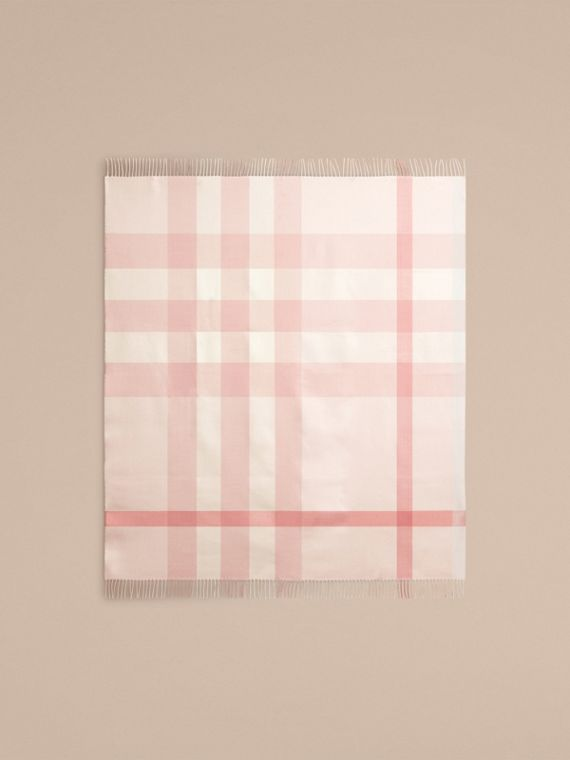 Check Merino Wool Baby Blanket Powder Pink - cell image 3