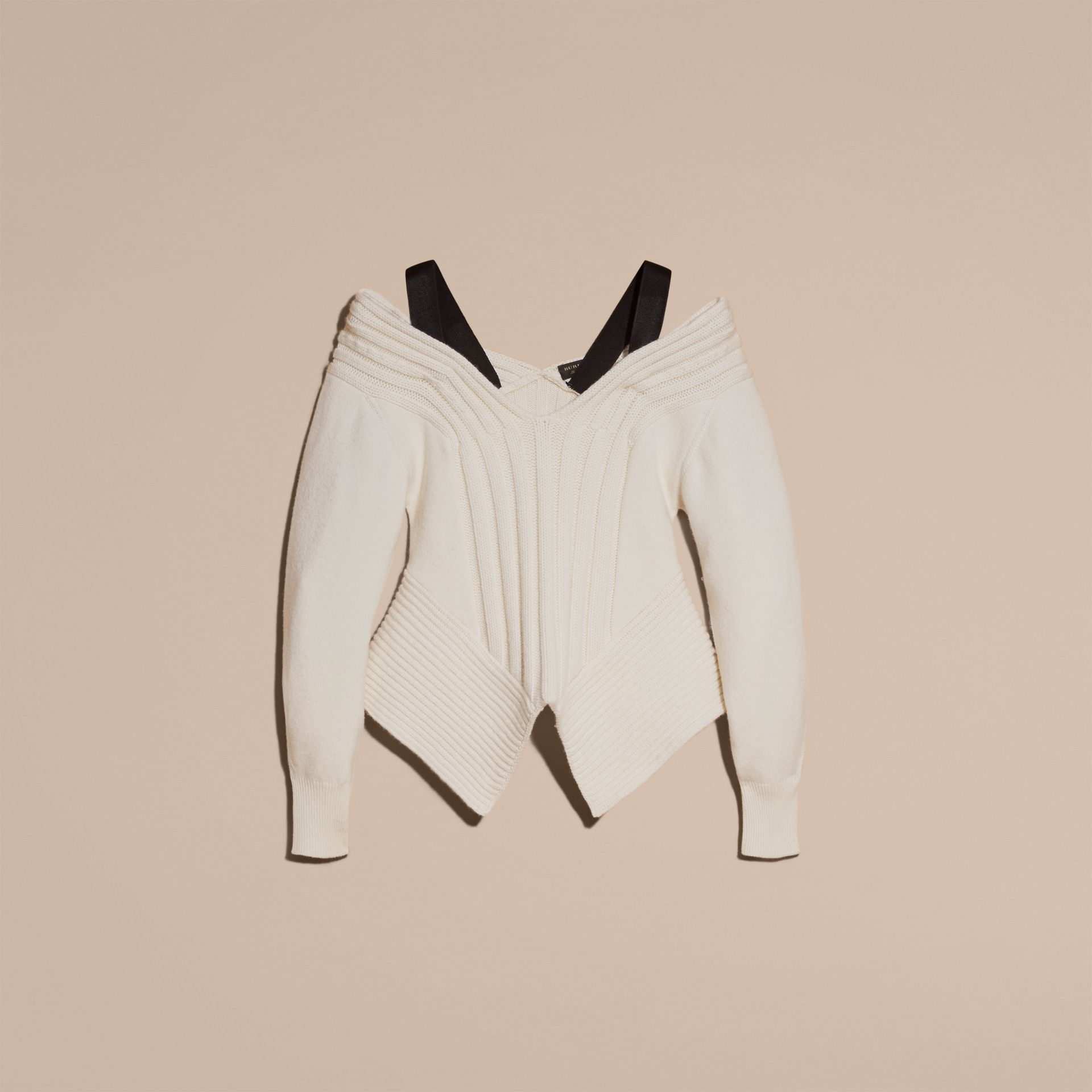 Natural white Wool Cashmere Off-the-shoulder Sweater Natural White - gallery image 4