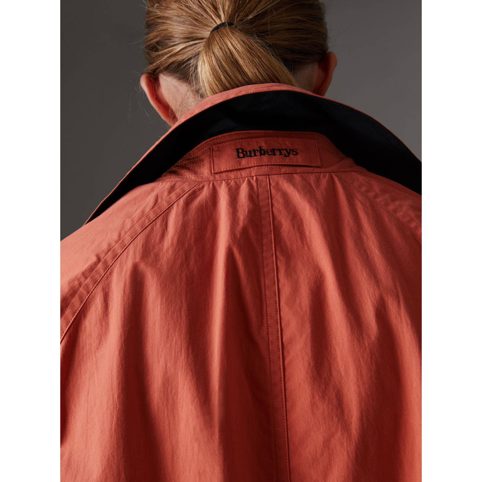 Reissued Cotton Car Coat with Detachable Warmer in Coral - Women | Burberry - gallery image 1