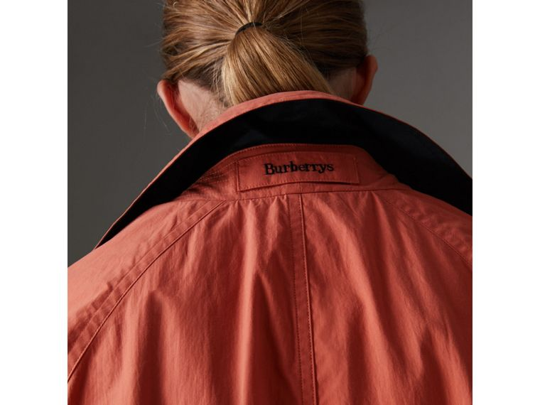 Reissued Cotton Car Coat with Detachable Warmer in Coral - Women | Burberry United Kingdom - cell image 1