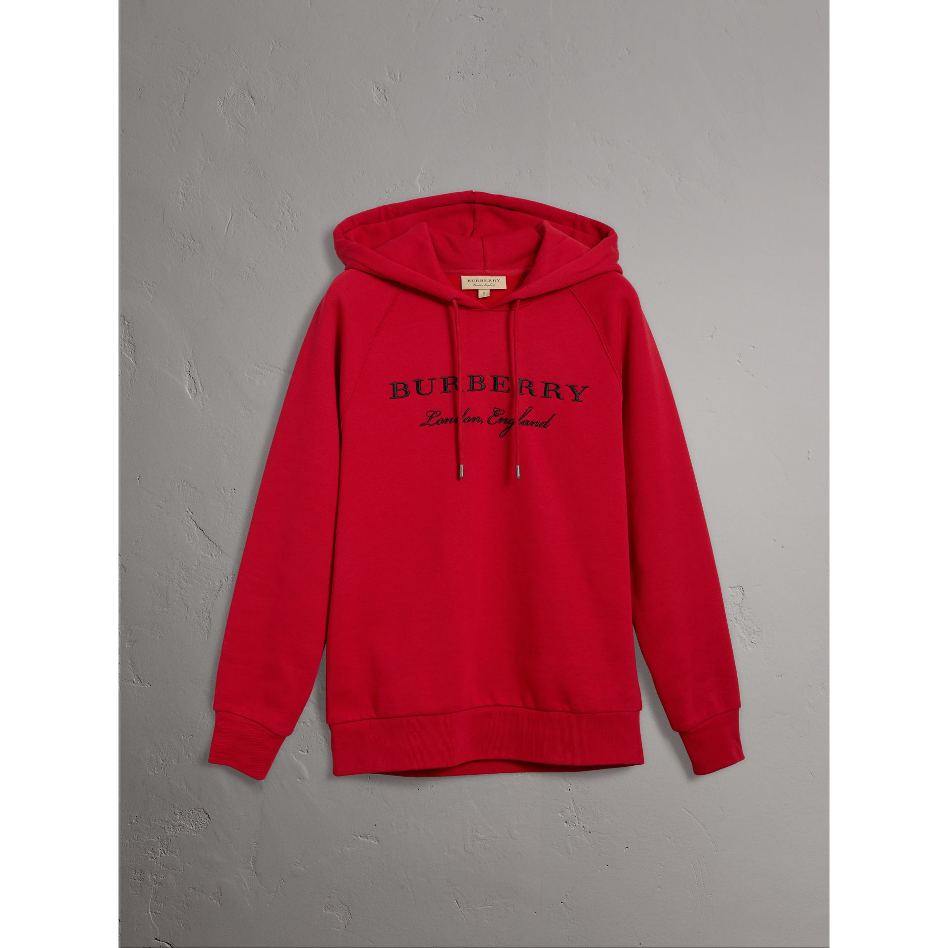 Embroidered Hooded Sweatshirt in Parade Red - Women | Burberry - gallery image 3