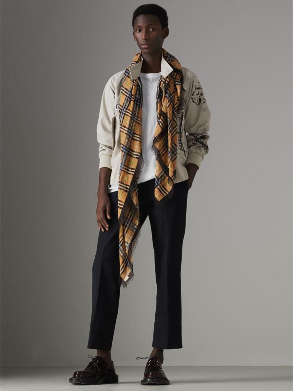 Scribble Check Cotton Large Square Scarf in Antique Yellow | Burberry - cell image 3