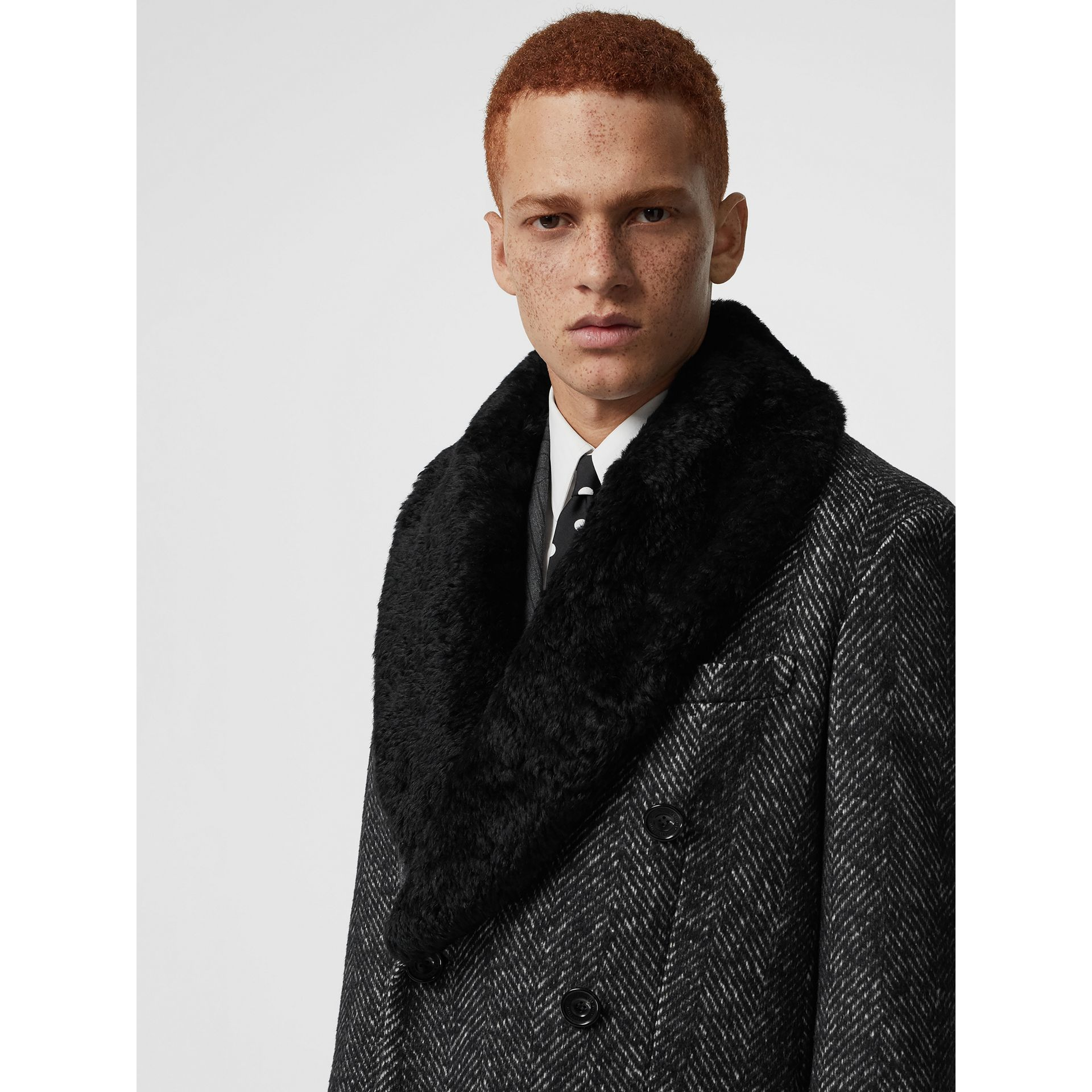 Detachable Shearling Collar Wool Silk Blend Coat in Black - Men | Burberry - gallery image 1