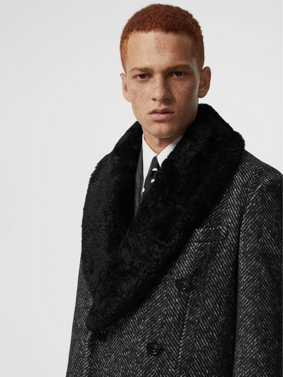Detachable Shearling Collar Wool Silk Blend Coat in Black - Men | Burberry - cell image 1