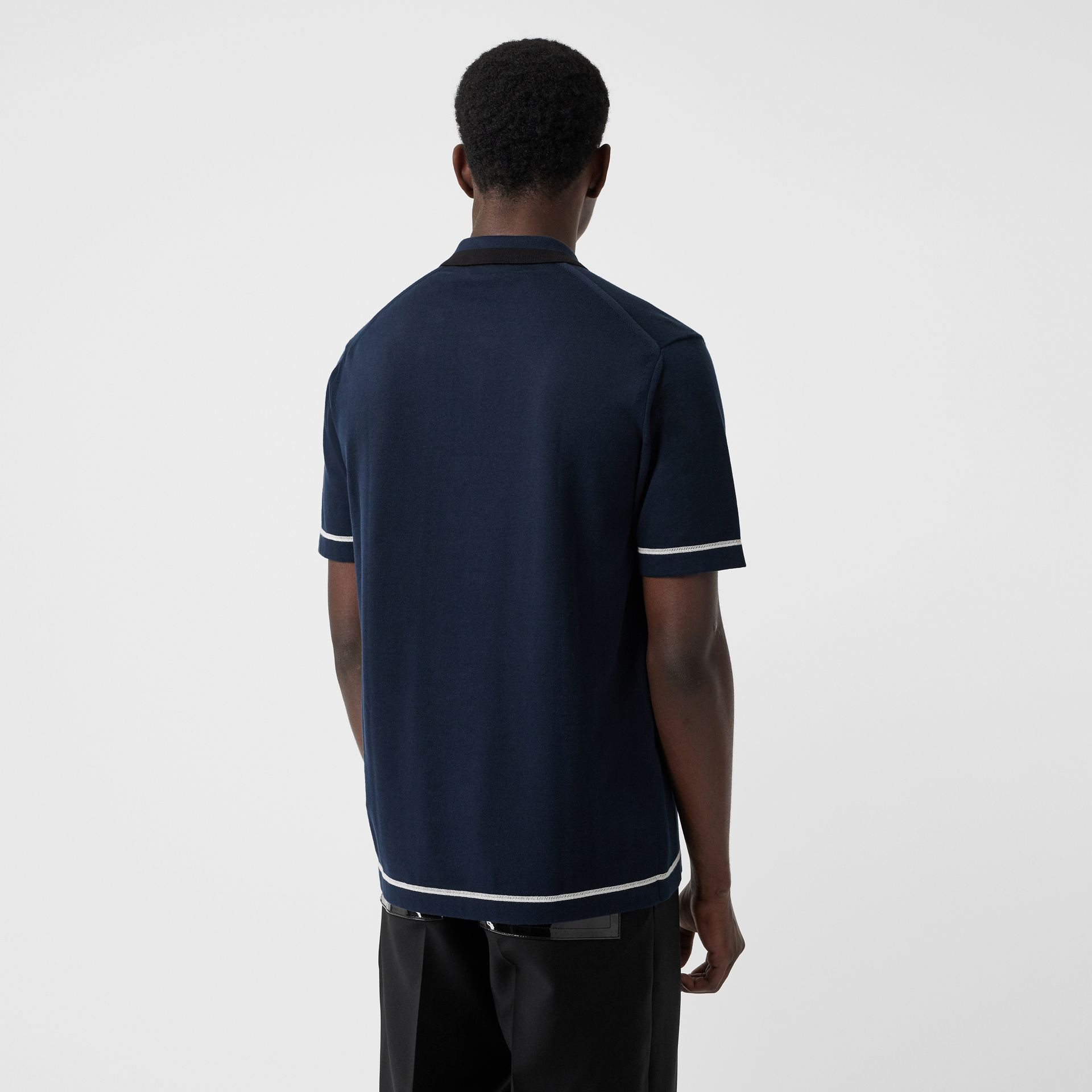 Monogram Motif Tipped Cotton Polo Shirt in Navy - Men | Burberry - gallery image 2