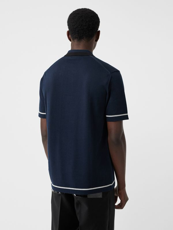 Monogram Motif Tipped Cotton Polo Shirt in Navy - Men | Burberry Singapore - cell image 2