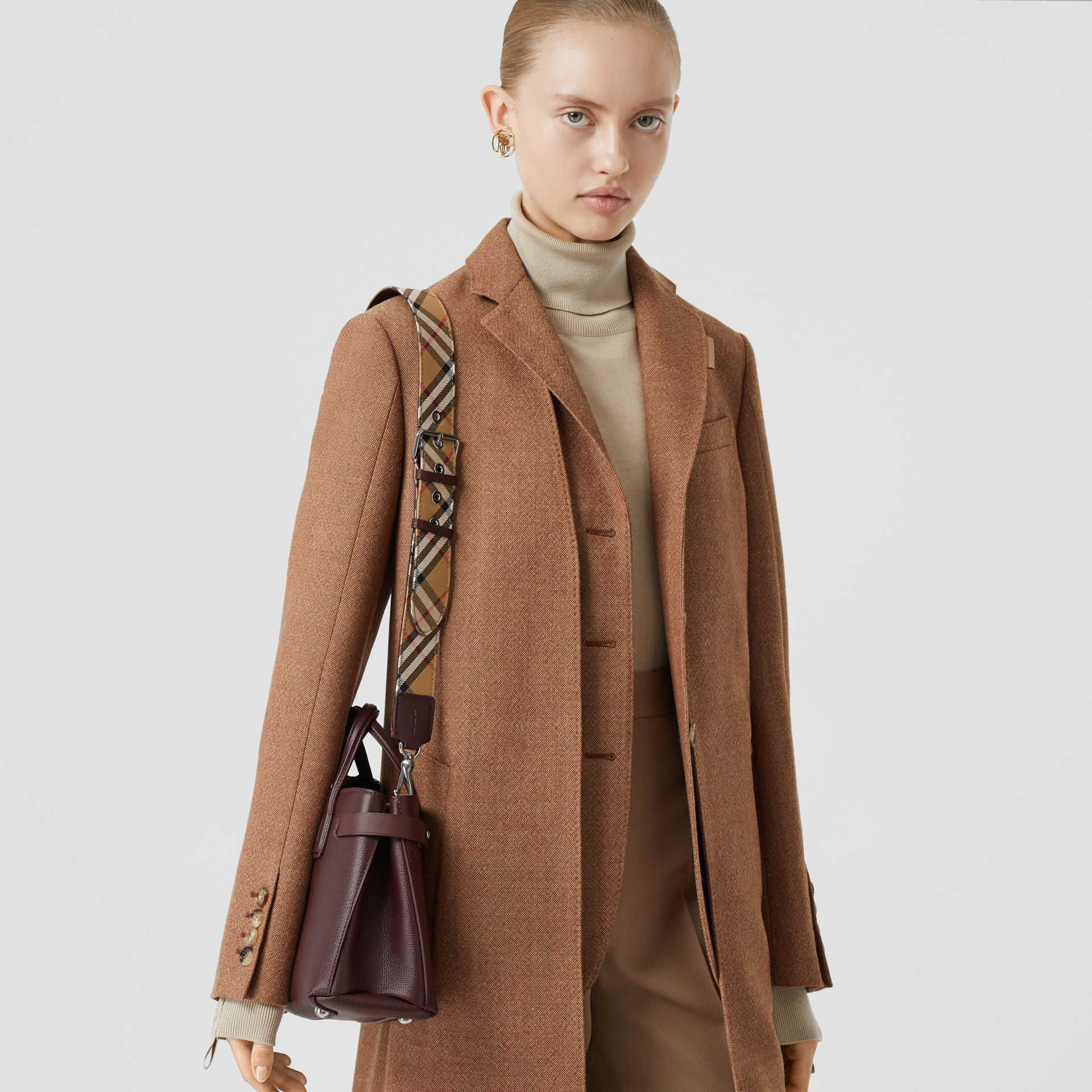 The Small Banner in Leather and Vintage Check in Mahogany Red - Women | Burberry Canada - gallery image 7