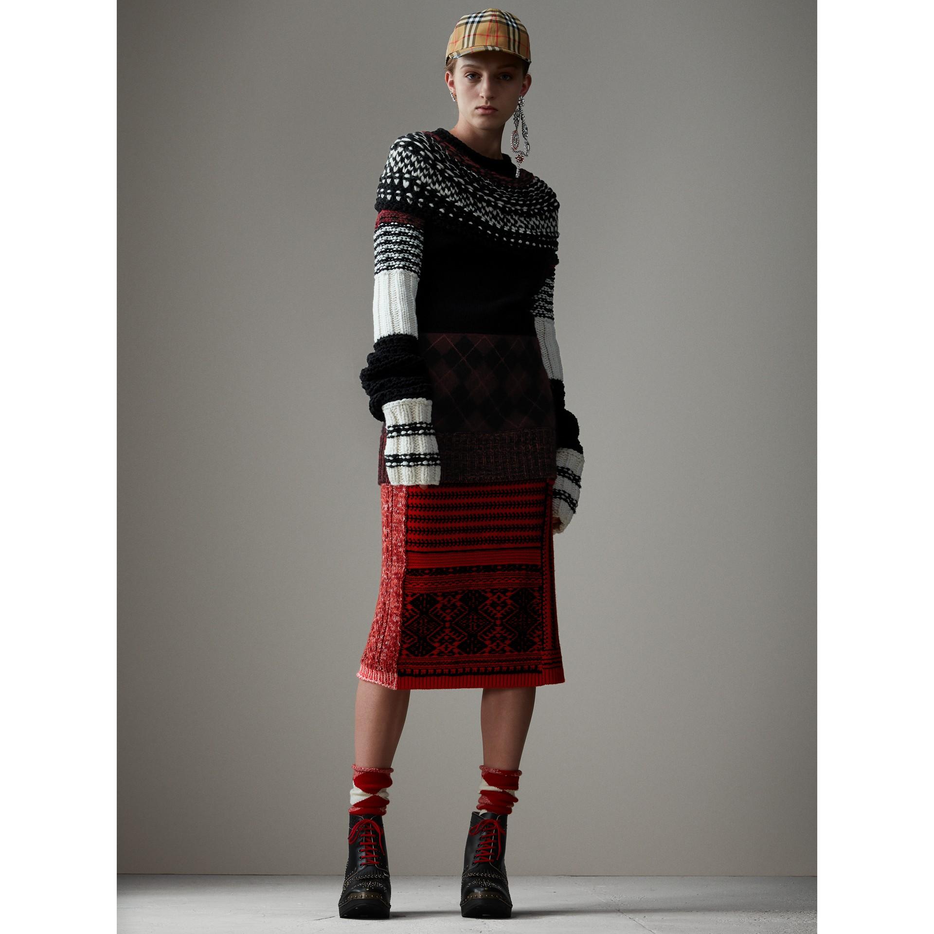 Pullover aus Kaschmir und Wolle mit handgestrickter Passe (Schwarz) - Damen | Burberry - Galerie-Bild 7