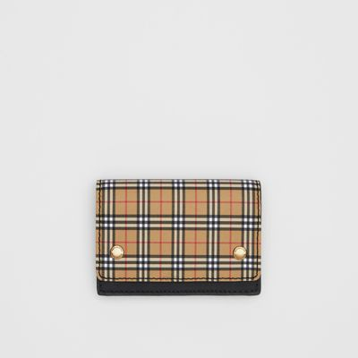 Small Scale Check And Leather Folding Card Case by Burberry