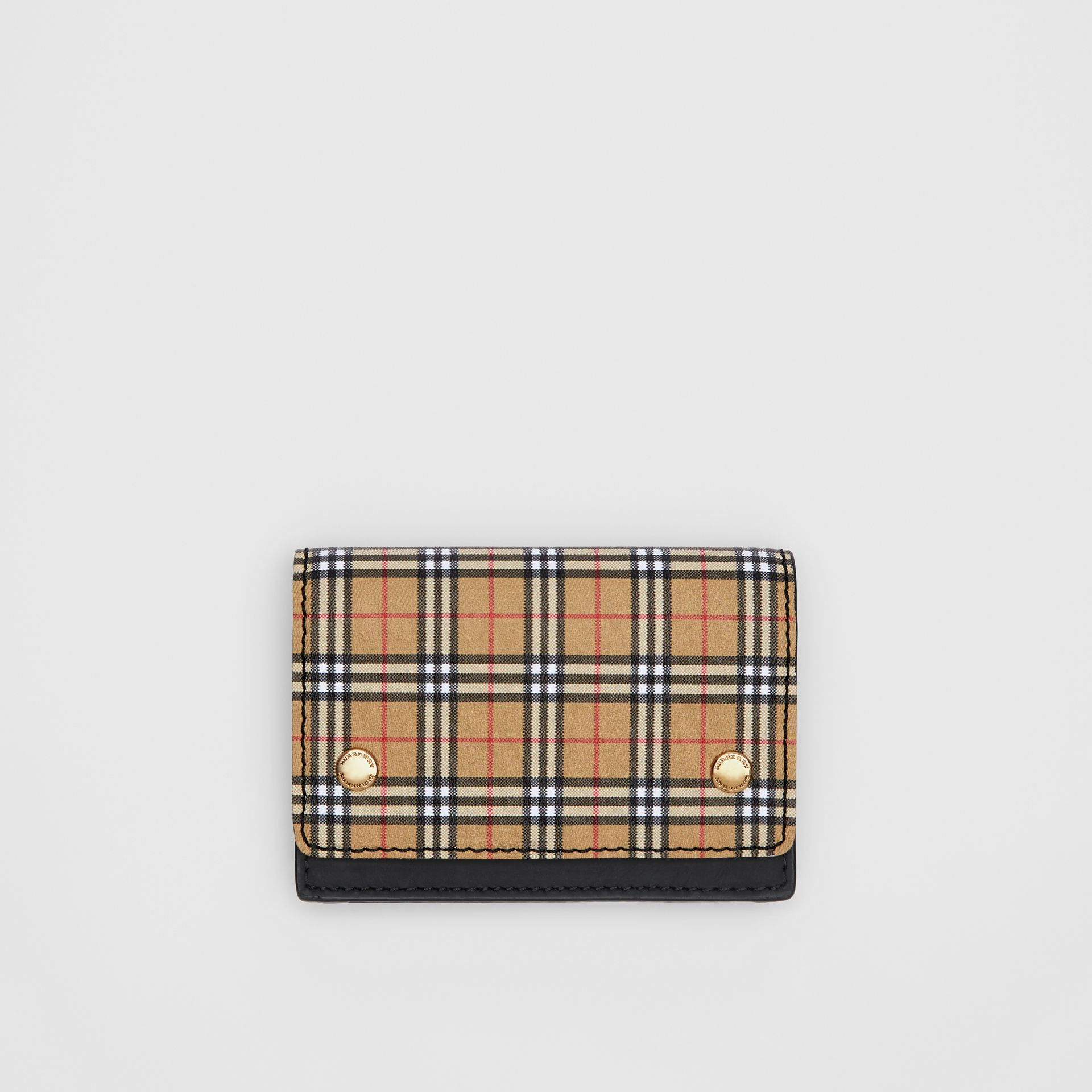 Small Scale Check and Leather Folding Card Case in Antique Yellow - Women | Burberry - gallery image 0