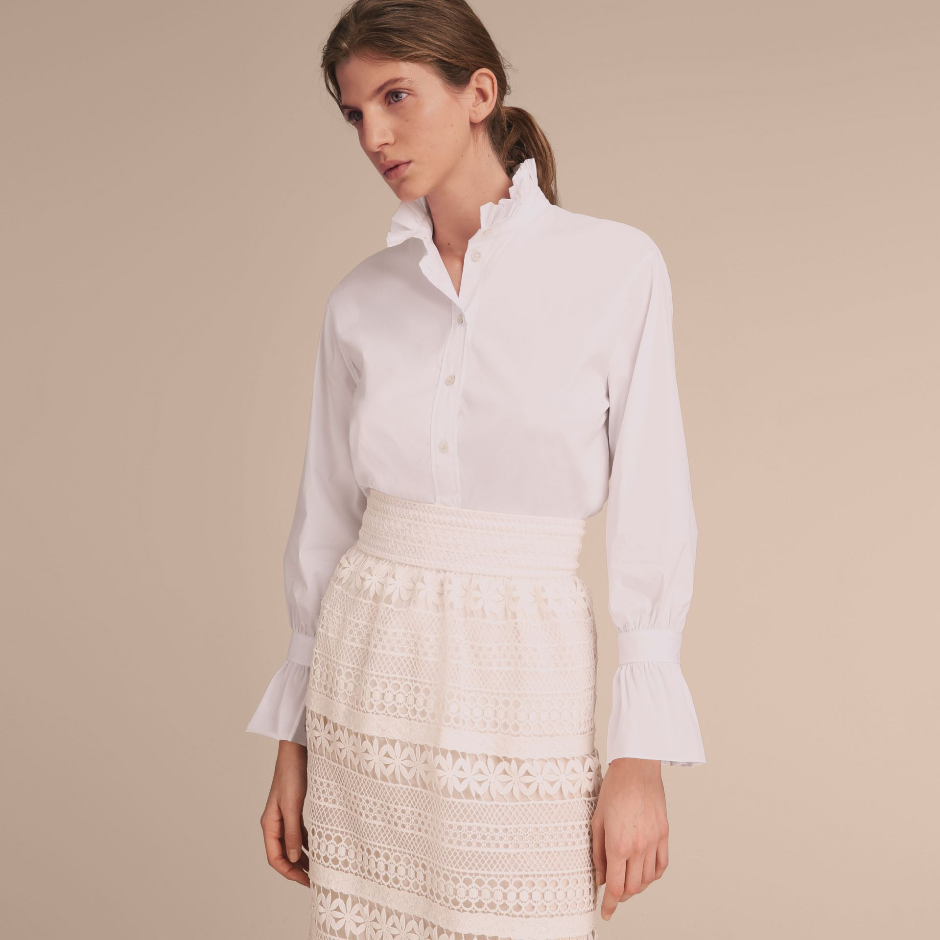Ruffle Detail Stretch Cotton Poplin Shirt - gallery image 7