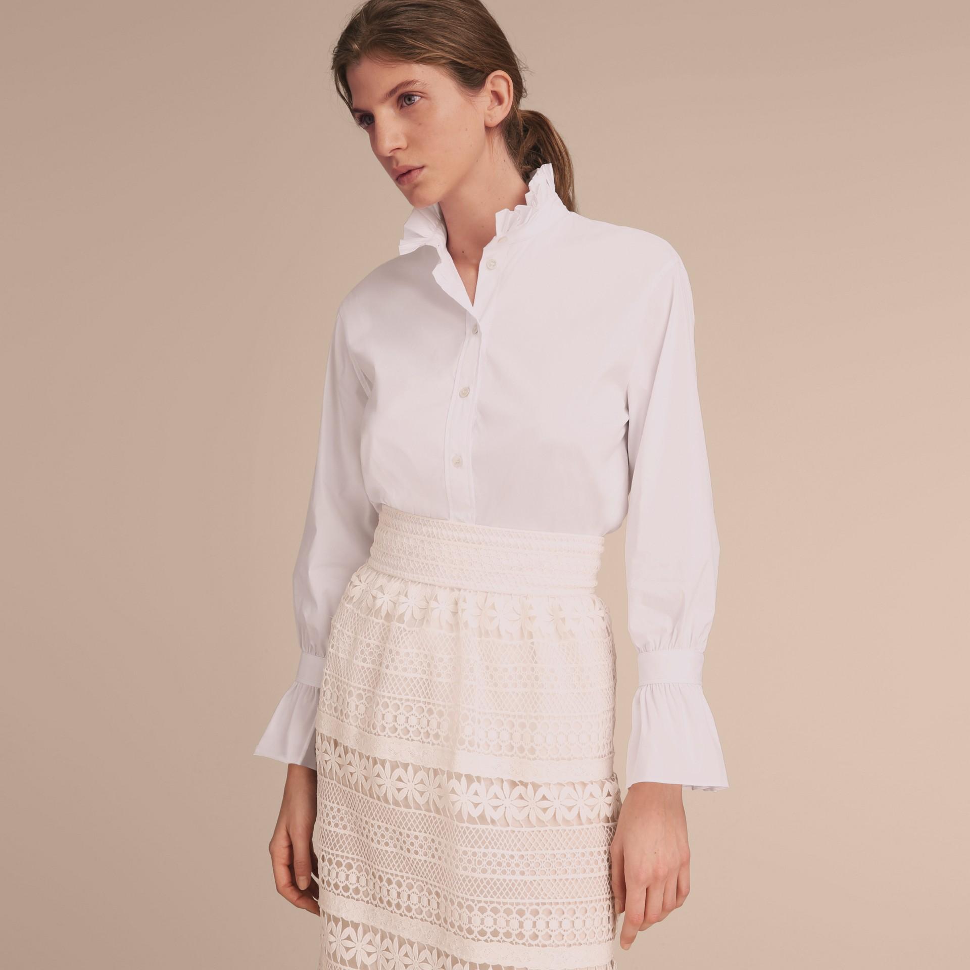 White Ruffle Detail Stretch Cotton Poplin Shirt - gallery image 7