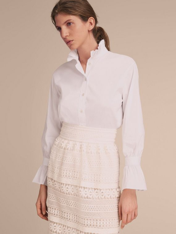Ruffle Detail Stretch Cotton Poplin Shirt