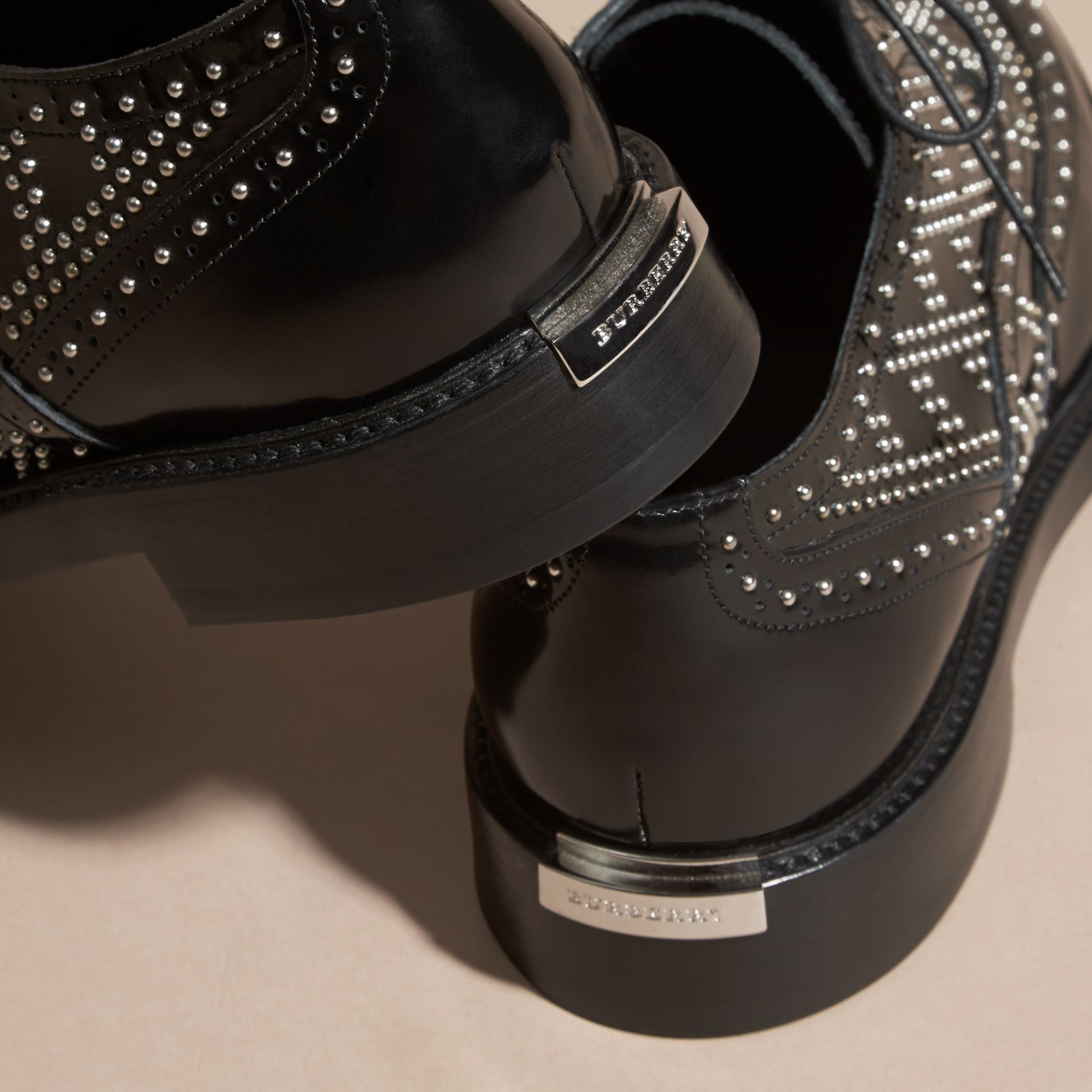 Black Studded Leather Wingtip Brogues - gallery image 4