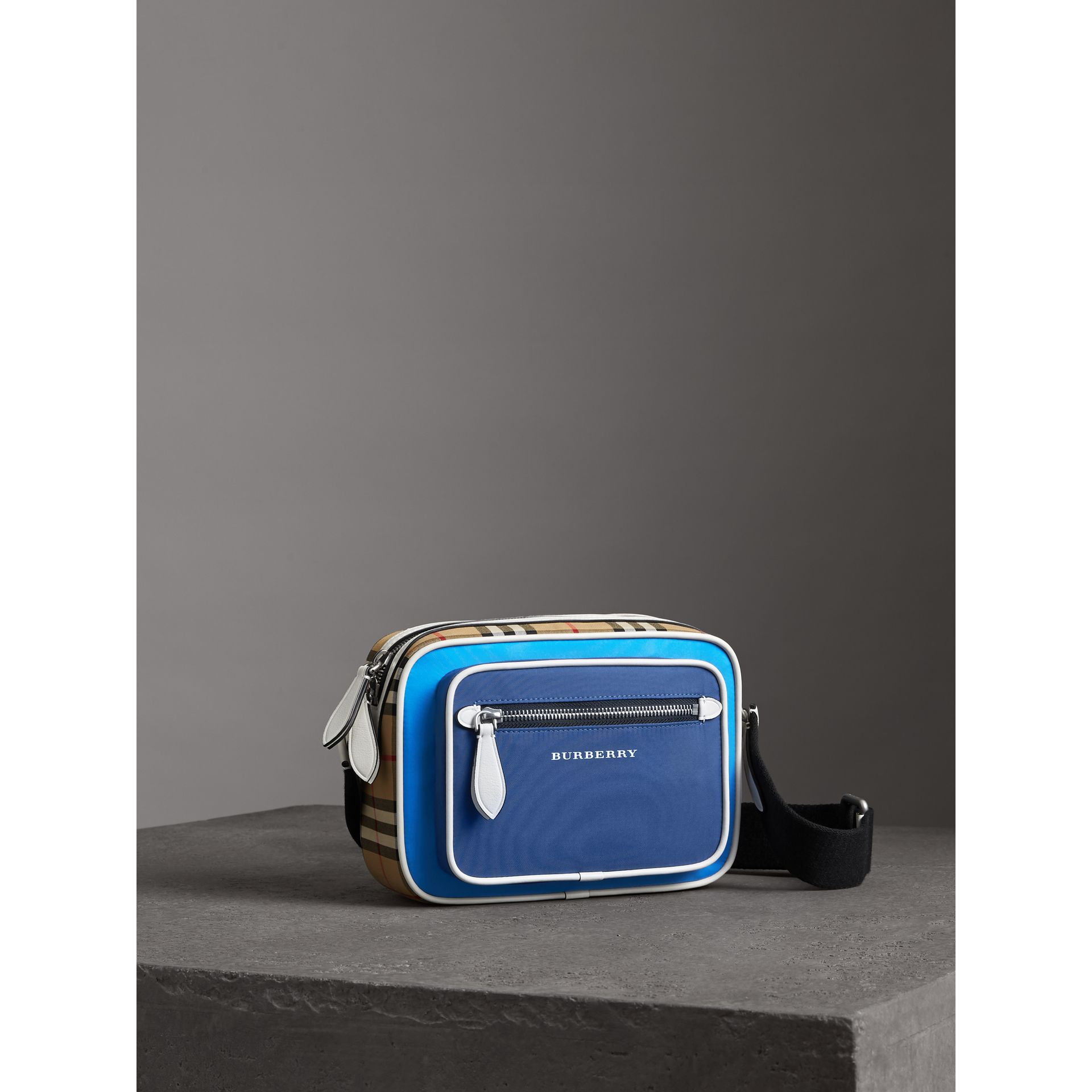 Vintage Check and Nylon Crossbody Bag in Deep Cerulean Blue | Burberry United States - gallery image 4