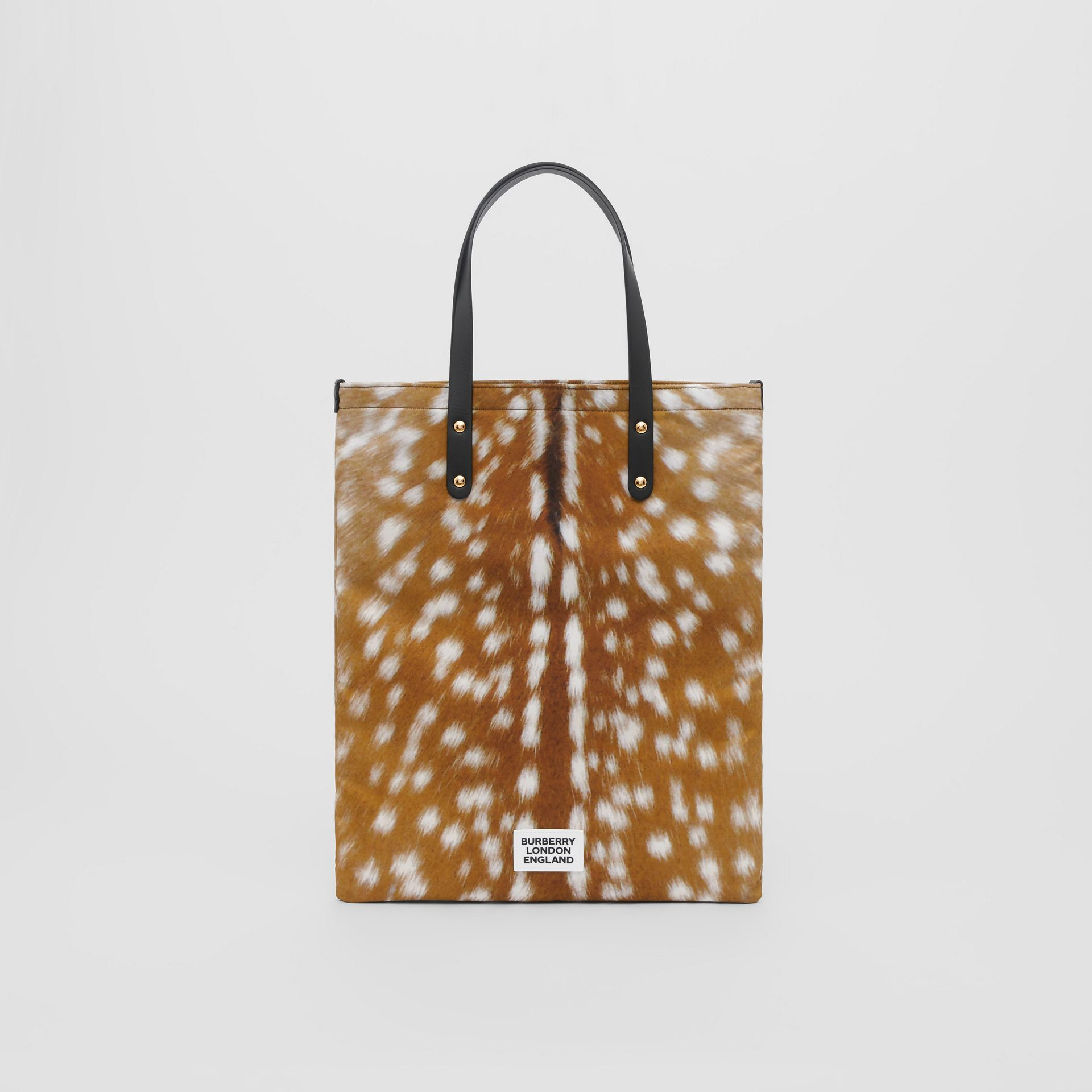 Deer Print Nylon Tote Bag in Black | Burberry - gallery image 0