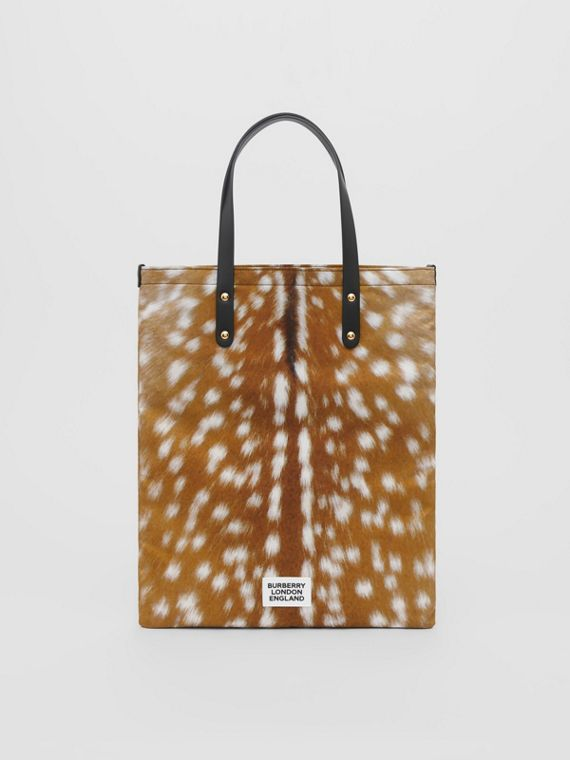 Deer Print Nylon Tote Bag in Black