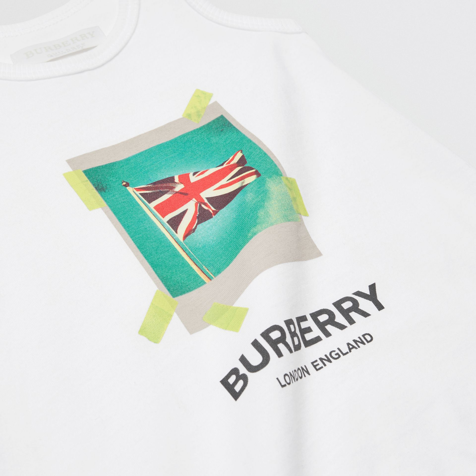 Polaroid Print Cotton Bodysuit in White - Children | Burberry United Kingdom - gallery image 1