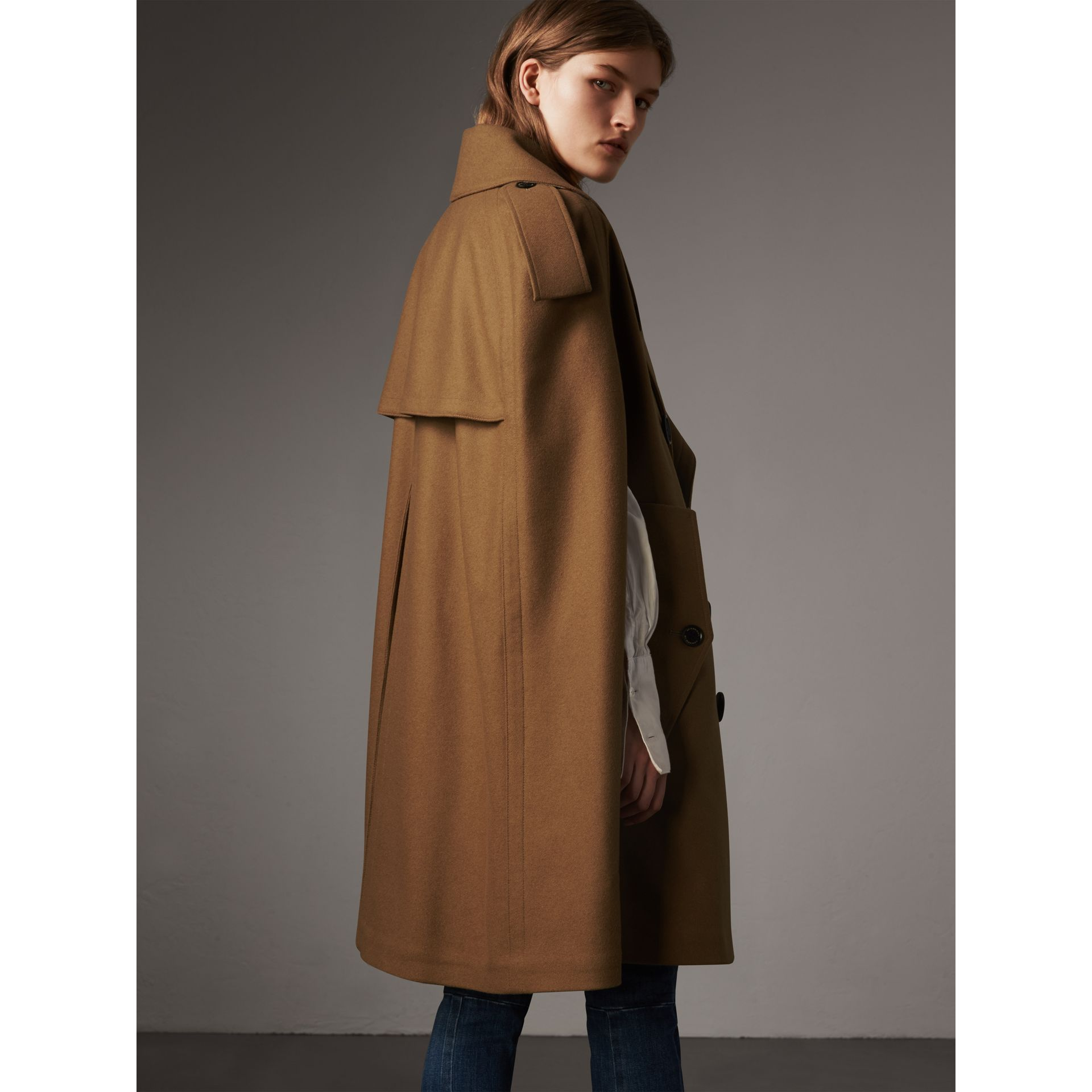 Wool Double-breasted Military Cape in Camel - Women | Burberry - gallery image 2