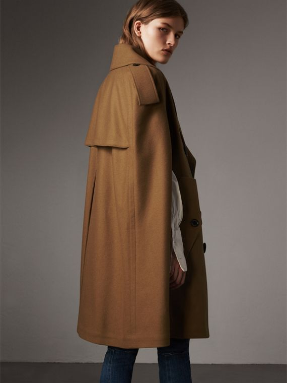 Wool Double-breasted Military Cape in Camel - Women | Burberry - cell image 2