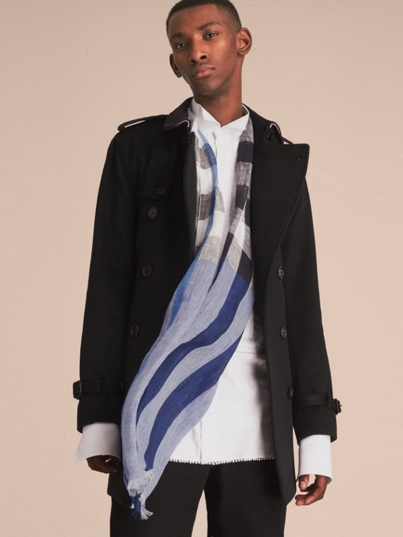 Lightweight Check Linen Scarf in Chalk Blue | Burberry Australia - cell image 2