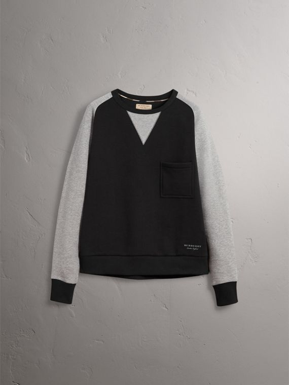 Two-tone Cotton Blend Sweatshirt in Black - Men | Burberry United States - cell image 3