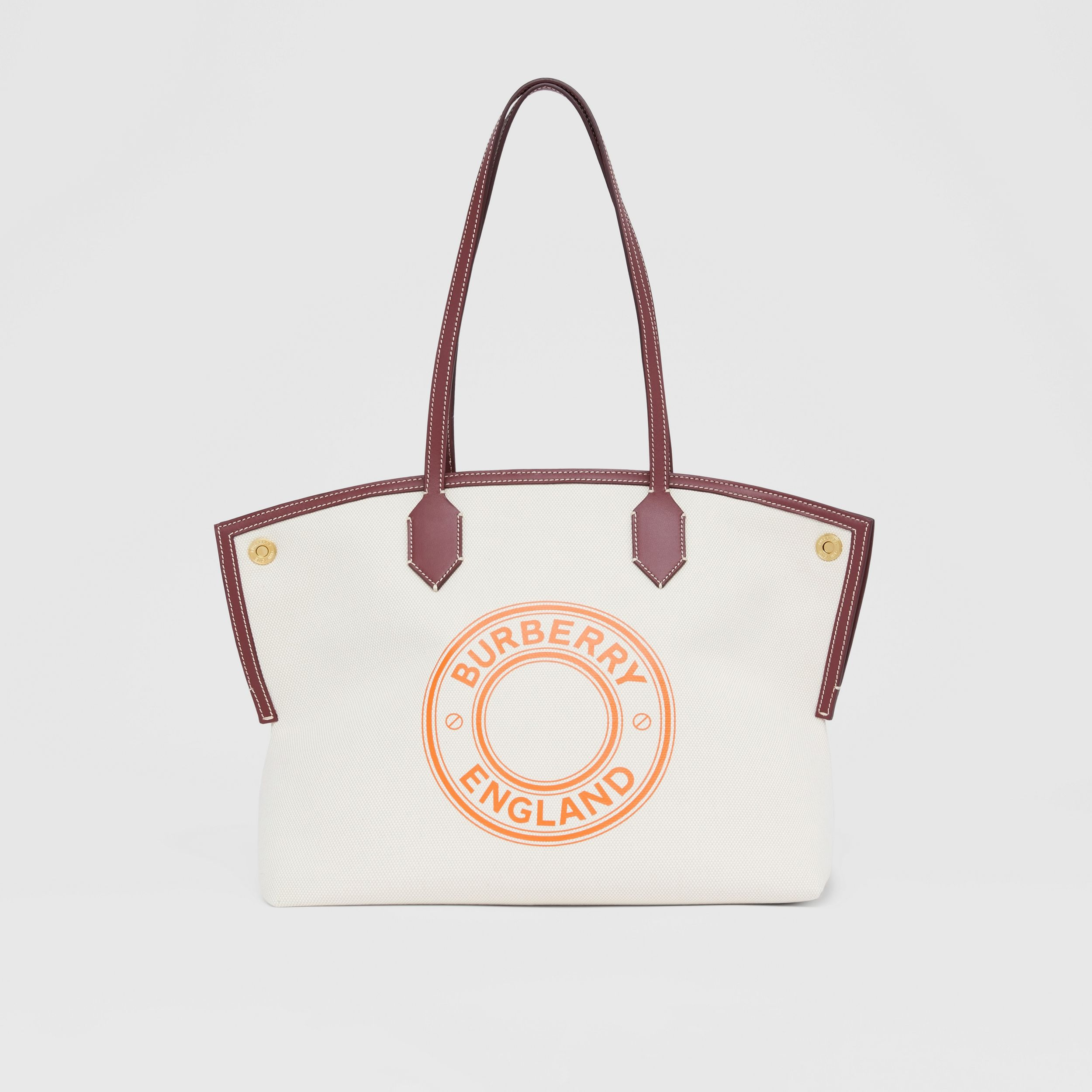 Medium Logo Graphic Cotton Canvas Society Tote in Natural/garnet/geranium - Women | Burberry Canada - 1
