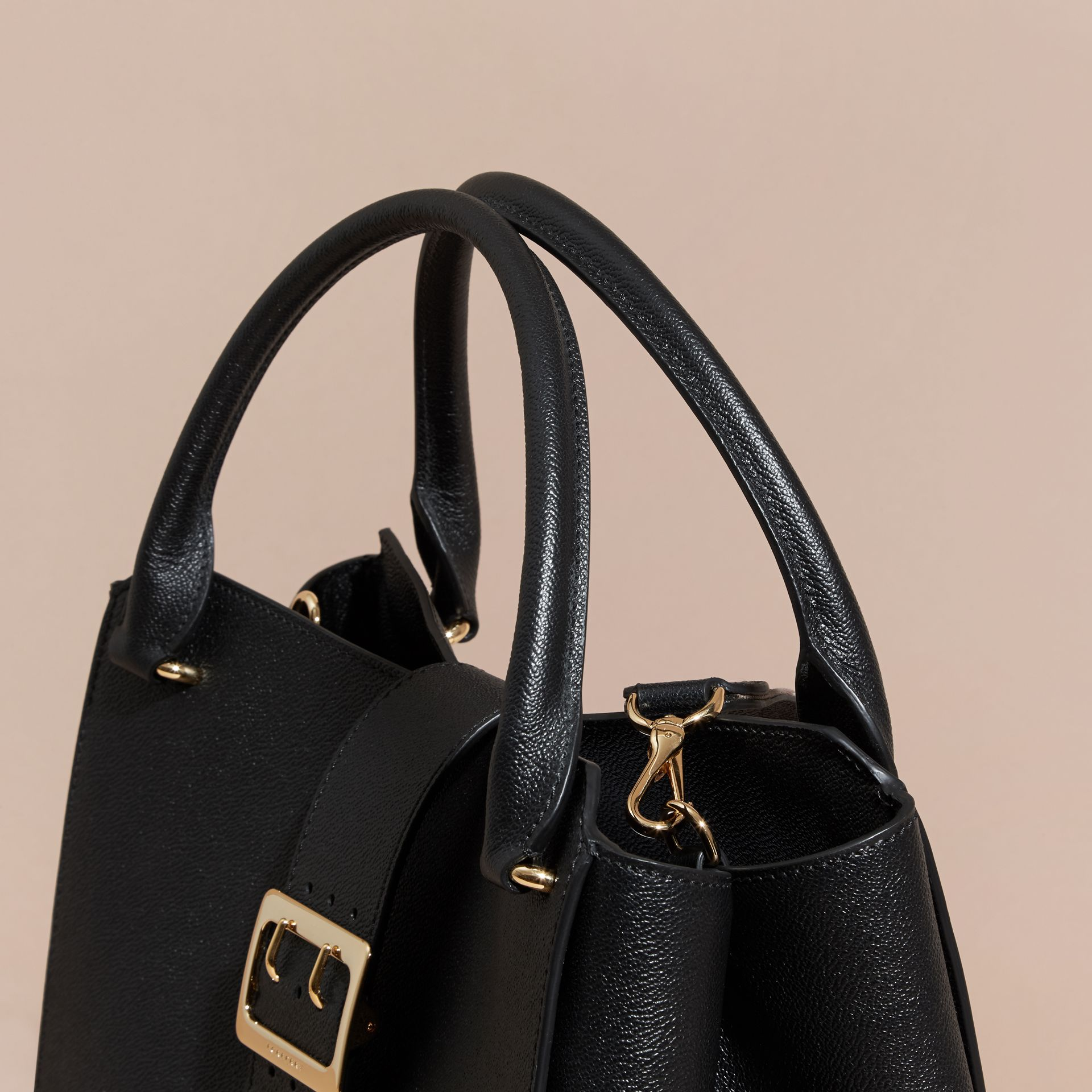 The Large Buckle Tote in Grainy Leather Black - gallery image 2