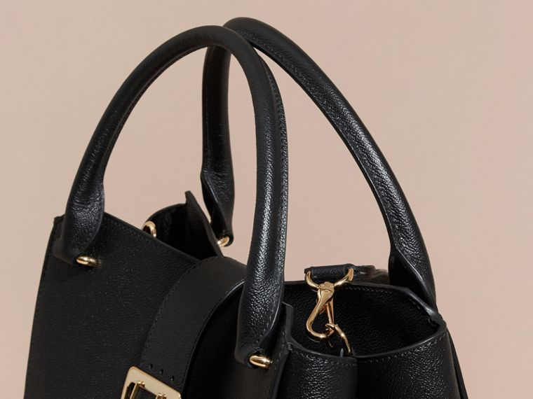 The Large Buckle Tote in Grainy Leather in Black - cell image 1